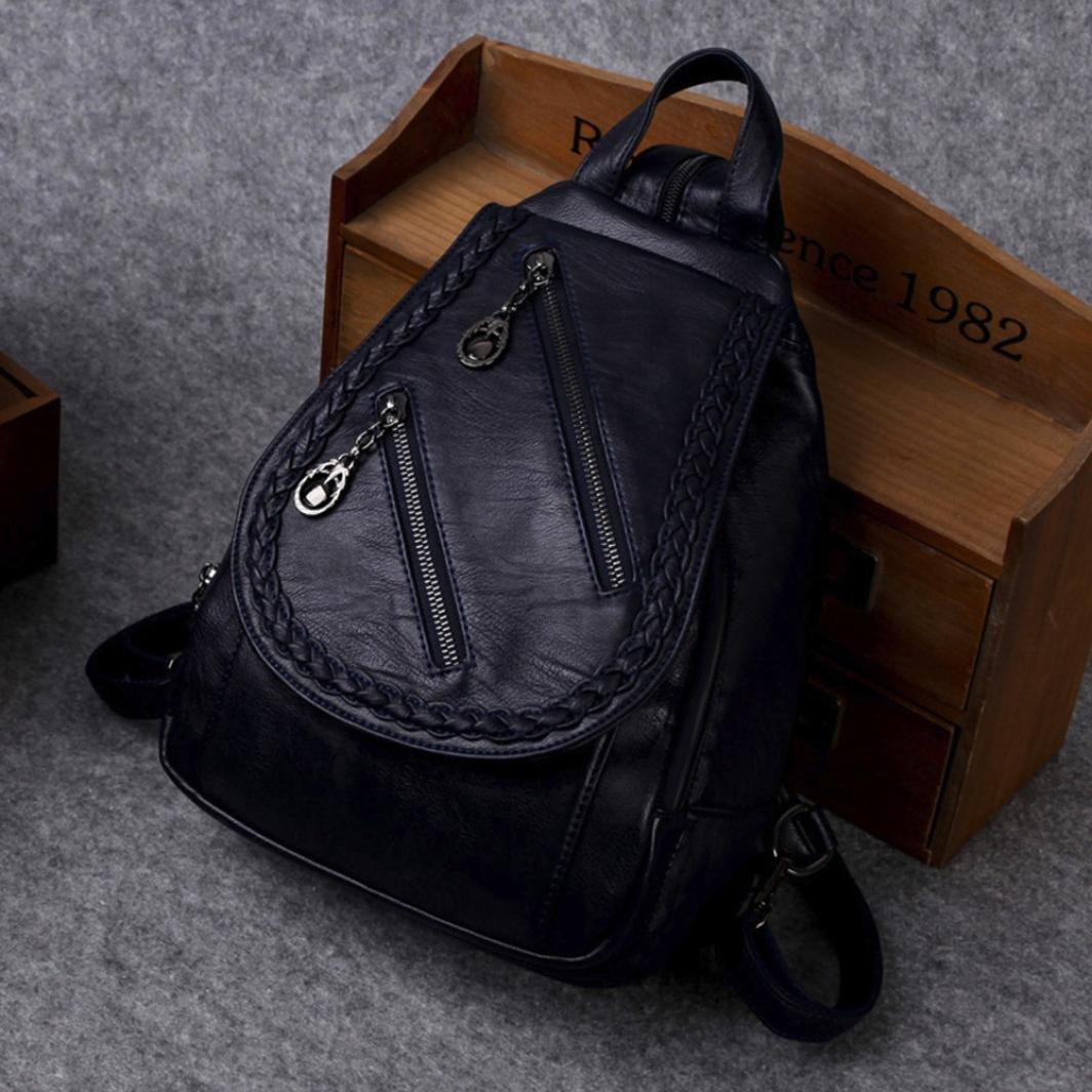 DDLBiz Women Fashion Leather Double Zipper Purse Backpack Shopping School Shoulder Bag (Blue)