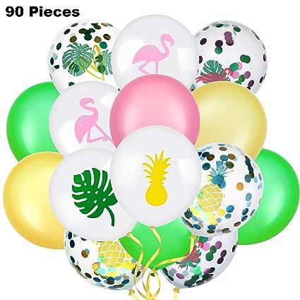 Amazon Com 90 Pieces Hawaiian Theme Balloons Tropical Party