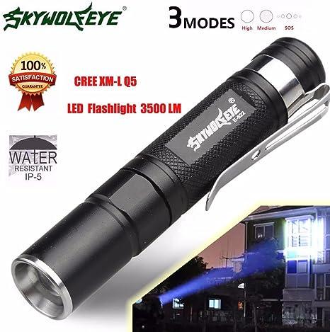 Mini CREE Q5 LED Flashlight Torch Lamp Light Waterproof Camping Hiking Cool