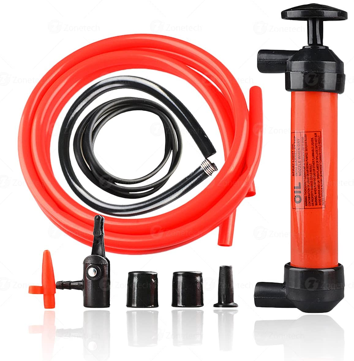 Zone Tech Siphon Air Pump-Hand Gas Liquid Air Pump- Fluid Fuel Oil Gasoline Water-Travel Emergency Manual Vehicle Car Tool