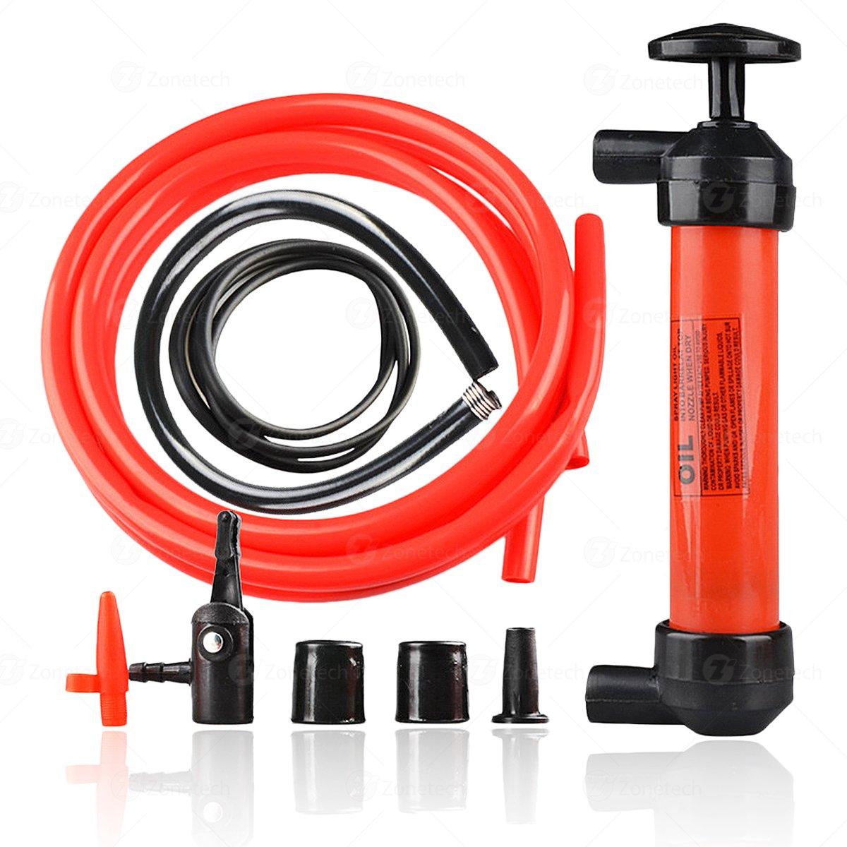 Siphon Gas Liquid Air Pump -Zone Tech Hand Gas Liquid Air Pump- Fluid Fuel Oil Gasoline Water-Travel Emergency Manual Vehicle Car Tool PU0002