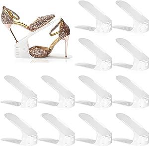 Shoe Slots Organizer 12 Pack, Adjustable Shoe Stacker Space Saver, Double Deck Shoe Rack Holder Shoe Stack for Closet Organization,White