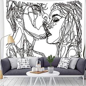 Kiss Tapestry Black White Tapestry Men Women Kissing Lovers Tapestry Line Art Aesthetic Tapestry Abstract Tapestry For Men Teen Girls And Bedroom Living Room Decor(78