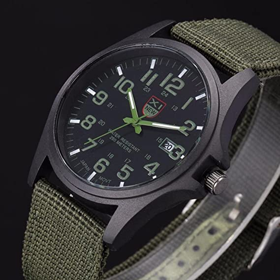 Amazon.com: Watch,LANDFOX Mens Stainless Steel Military Sports Analog Quartz Watch Green: Watches