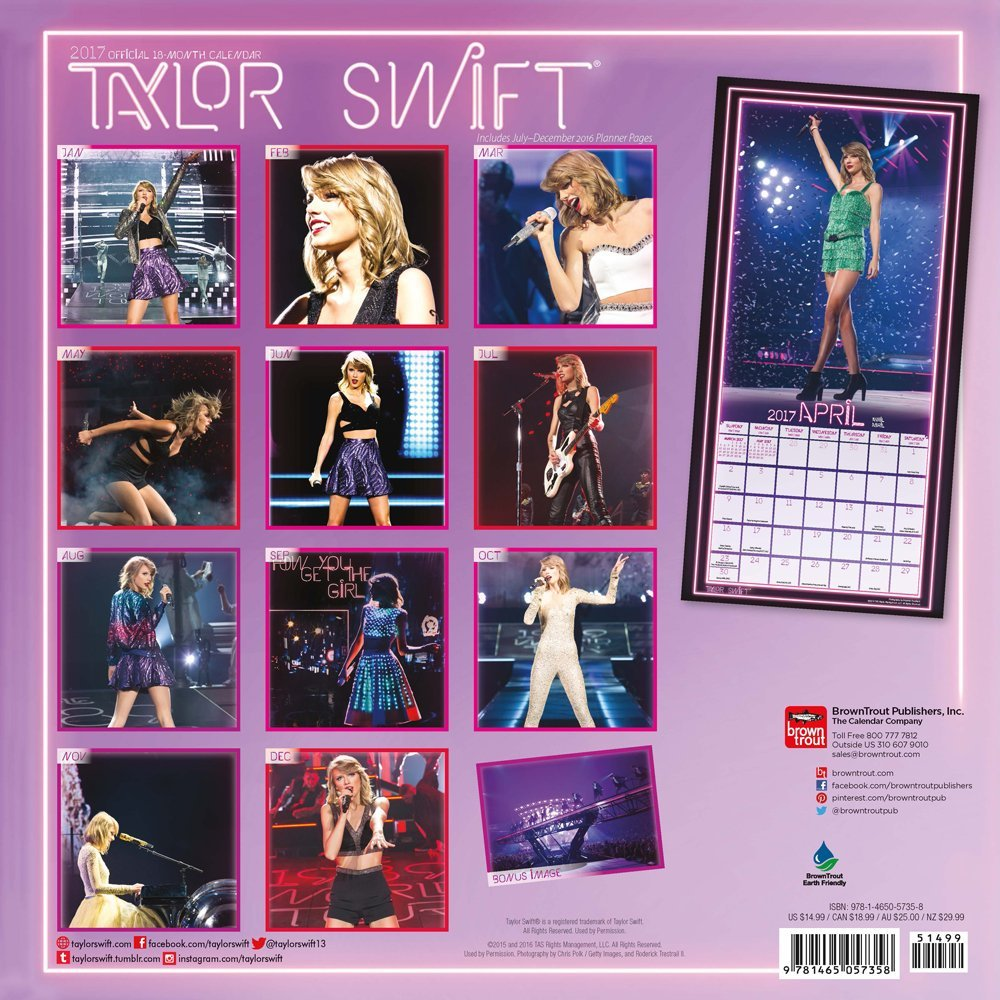amazon taylor swift official 2017 calendar square wall inc