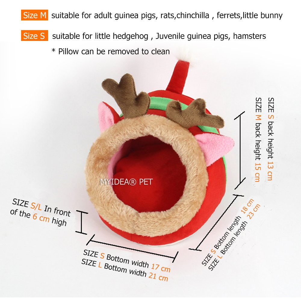 MYIDEA Guinea pigs House,Hedgehog Nest,Rabbits, Chinchillas & Small pet Animals Bed/Cube/House, Habitat, Lightweight, Durable, Portable, Cushion Big Mat For Party Gifts (Small Pet - L, Red elk) by MYIDEA (Image #5)