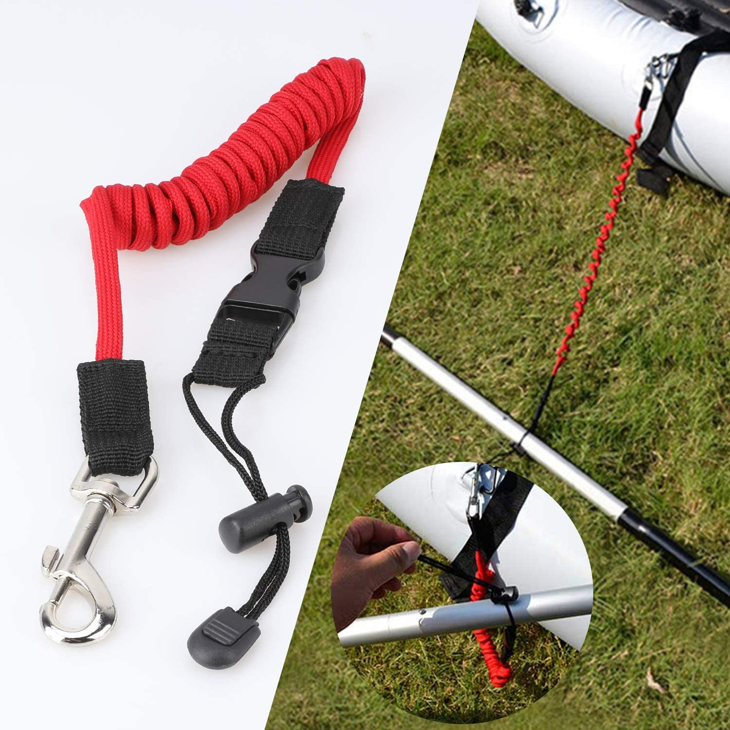 Fishing Poles Rods Surfboard 3 Pack Stretchable Kayak Paddle Leash Tether for Kaying Canoe SUP Board Paddles QKURT Red Paddle Leash