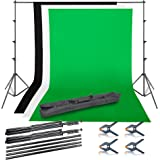 Emart Photo Video Studio Background Backdrop Stand Kit, 8.5x10ft Photography Support System with 3 Muslin Backdrops 100…