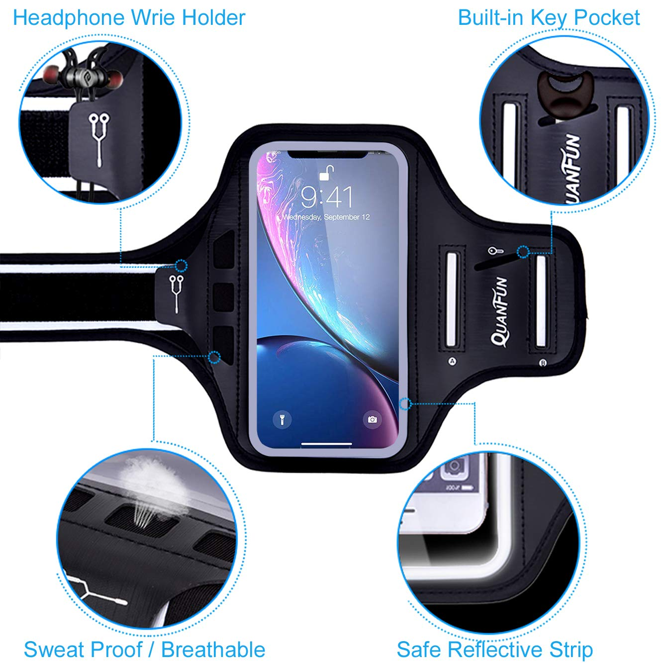 """Black // Rosy Pink fits 4.7/"""" to 6.5/"""" Cell Phones Phone Armband for iPhone 6 7 8 Plus X XS XR XSMax Waterproof Running Sports Armbands with Extra Extension Strap Holder for Galaxy S9 S8 S7 S6 Plus"""