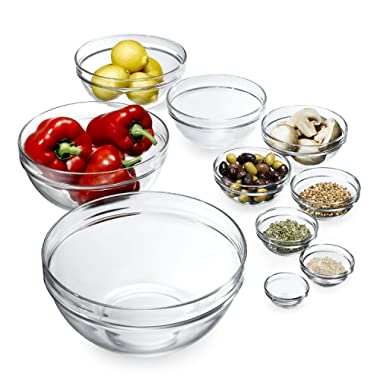 James Scott 10 Piece Set Stackable European Made lead Free Glass Kitchen Prep, Dipping Sauce, Dessert, Salads, Candy Dish or Nut Bowls. Prep Bowls