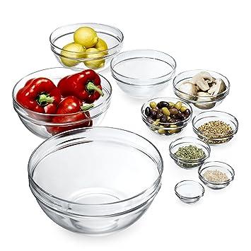 James Scott 10 piezas apilable Europea sin plomo cristal cocina Prep para salsas, salsa, postre, cuencos para ensaladas, Candy plato o tuerca.