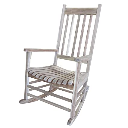 Beau International Concepts Solid Wood Porch Rocker Chair, Unfinished
