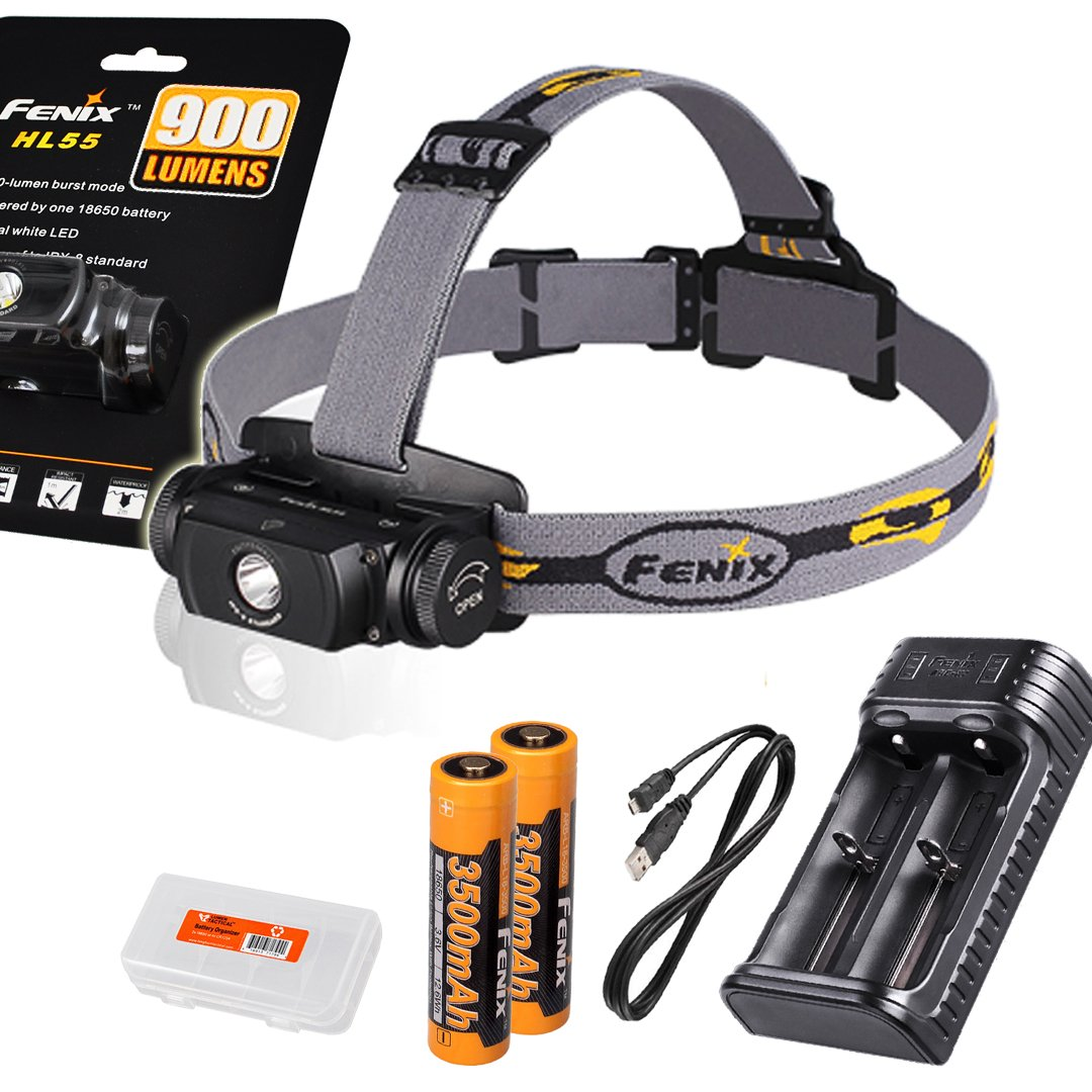 High Capacity Bundle: Fenix HL55 900 Lumens Headlamp with Two Genuine Fenix 3500mAh 18650 Rechargeble Batteries, Two Channel USB Charger and LumenTac Battery Organizer
