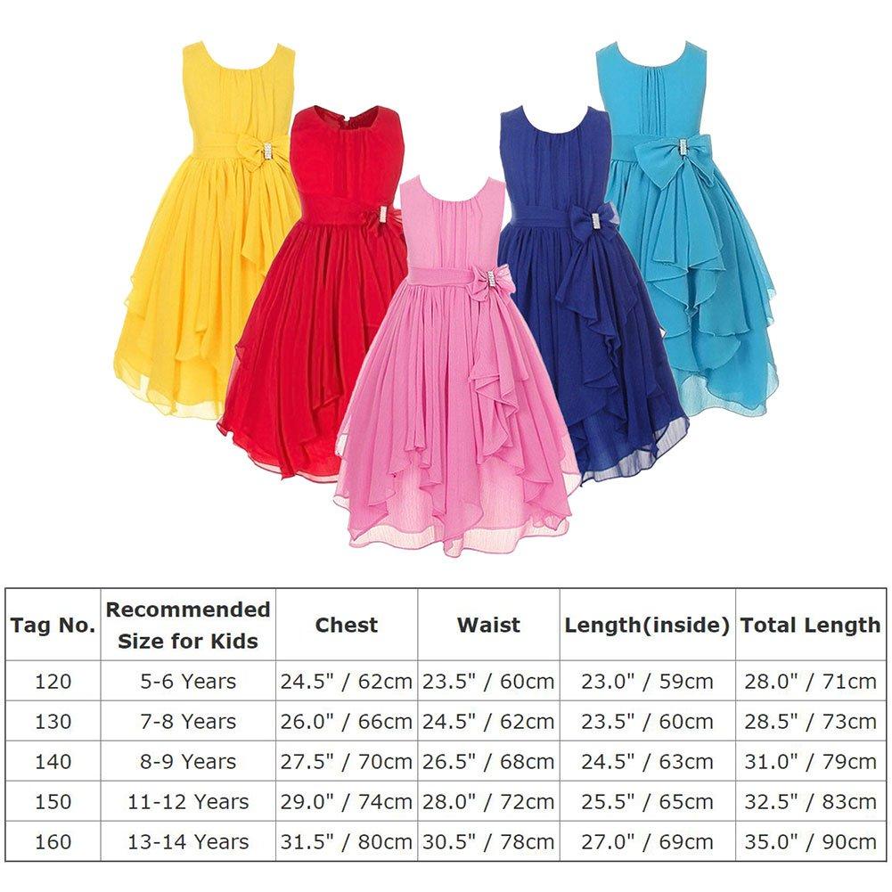 Vestido de gasa asimétrico sin B071JZDM2L mangas para niñas, de ...