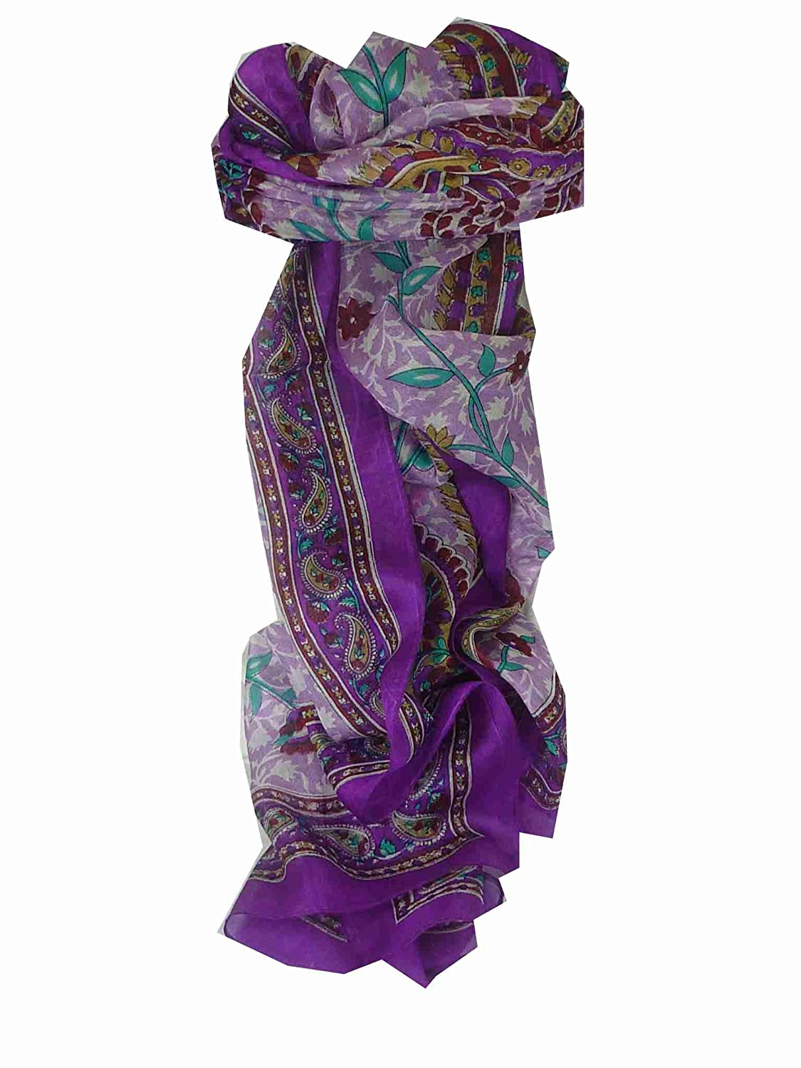 Sonja Long Violet Traditional Silk Scarf by Pashmina & Silk