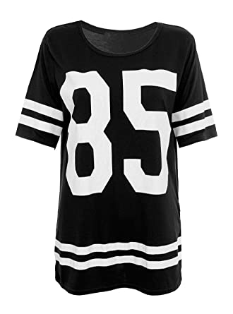 Crazy Girls Womens 85 Print Baggy T Shirt Short Sleeve Varsity American  Baseball Sport Top (S M-UK8 10 219cd5510