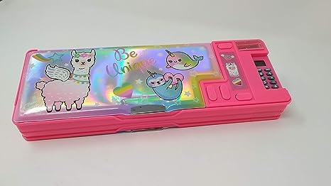 Hot Focus Llama - Estuche multifunción para lápices, estuche para niñas Juego de papelería con calculadora desplegable