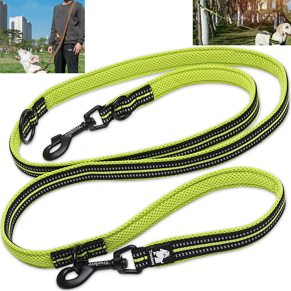 Green L 1\ Green L 1\ Creation Core Multi-fuctional Reflective Dog Leash with Snap Hook Adjustable Hands Free Walking Training Running Leash, Green L