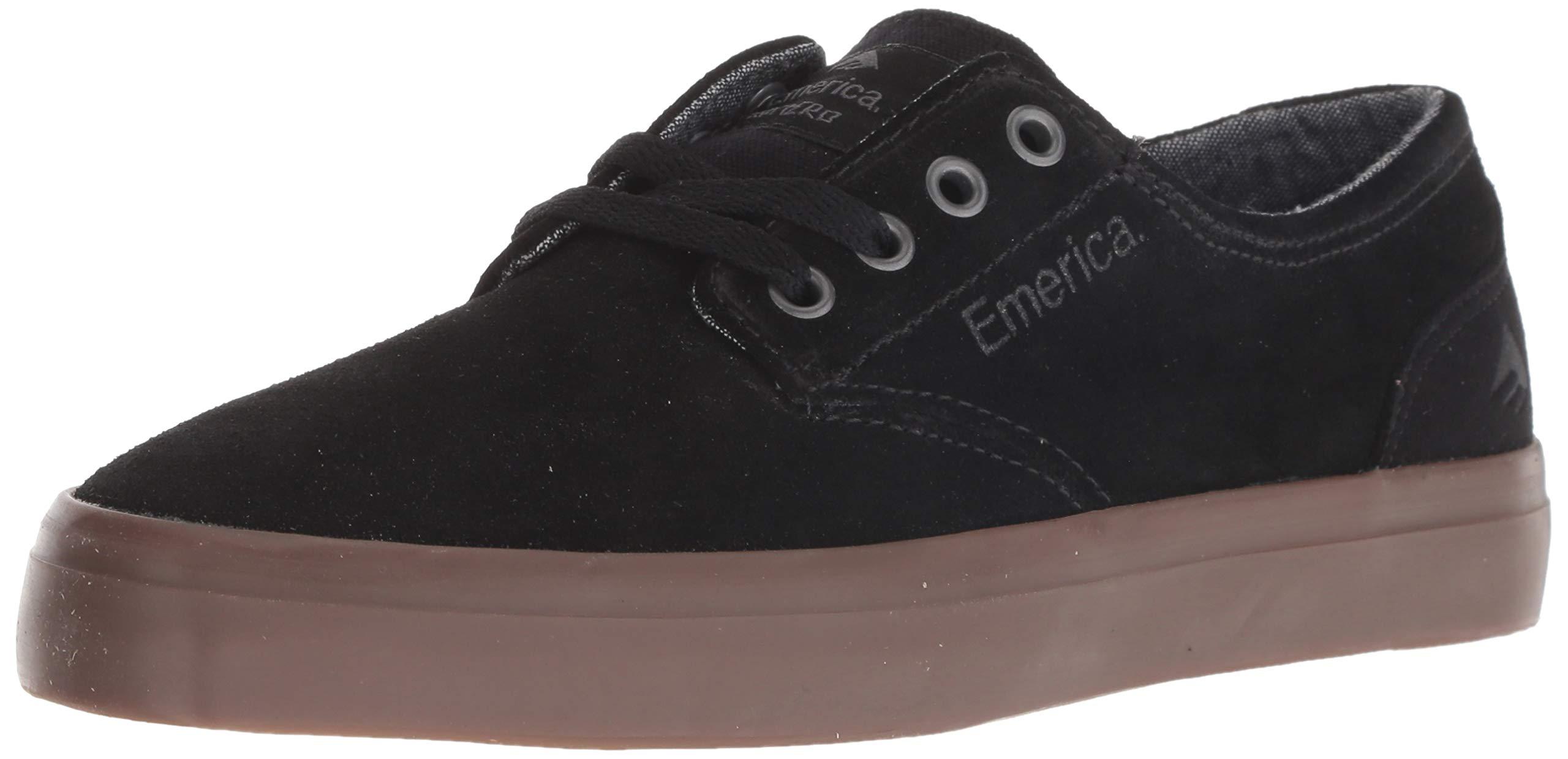 Emerica Boys' The Romero Laced Youth Skate Shoe, Black/Gum, 4c Medium US Big Kid