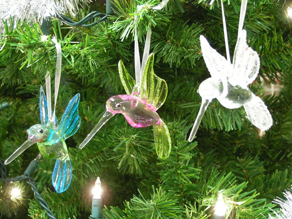amazoncom crystal hummingbird butterfly ornaments gift set with glitter accents handblown christmas ornament holiday decorations christmas tree - Bird Christmas Decorations