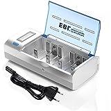 EBL906 Universal Cargador de Pila para AA AAA C D 9V NI-MH NI-CD Batería Recargable con Pantalla LCD y Funciones de Descarga