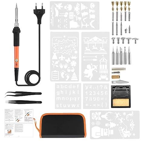 Koensky 43PCS Kit de pirograbado 60W de lápiz de madera quemada, Pluma de hierro de