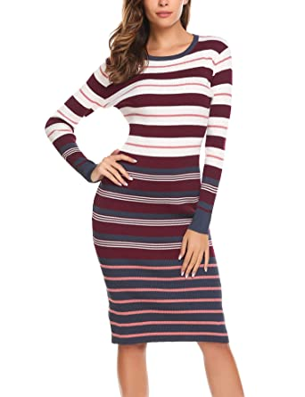 9f544cff2c3 Amazon.com  BEAUTYTALK Women s Long Sleeve Striped Knit Sweater Work Casual  Pencil Dress Wine Red S  Clothing