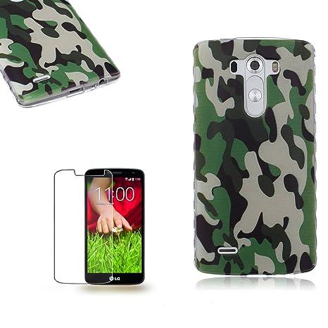 LG G3 Funda [Regalos gratis protector de pantalla],Funyye Gel de silicona suave ultra fina de TPU Hermosa (Camuflaje) Diseño cubierta trasera del caso ...