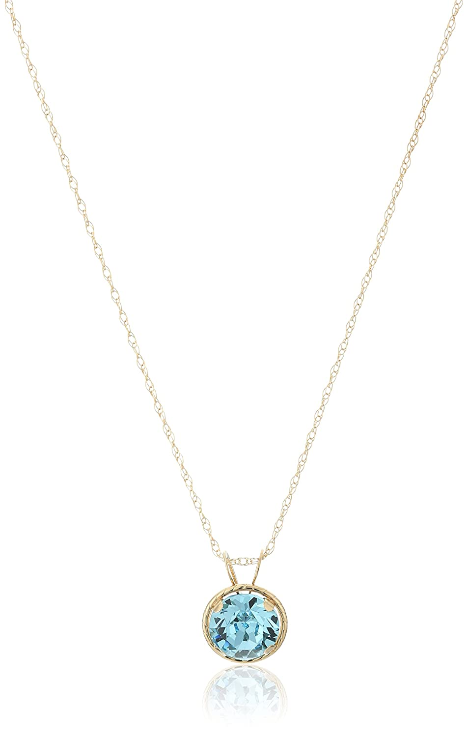 10k Yellow Gold Round Swarovski Crystal Birth Stone Pendant Necklace, 18 18 Amazon Collection 602732/10Y/YY/ASCY/STD
