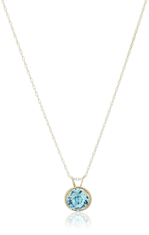 10k Yellow Gold Round Swarovski Crystal Birth Stone Pendant Necklace, 18 18 Amazon Collection 602732/10Y/YY/ASCY/STD