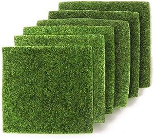 yalansmaiP 6 Pack Artificial Garden Grass, Life-Like Fairy Artificial Grass Lawn Mat for Miniature Ornament Garden Dollhouse DIY Decoration, 6''x 6''