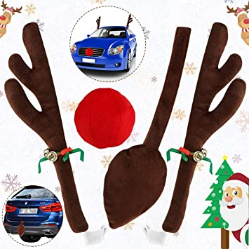 3 pc Kit CHRISTMAS Novelty Dress Up Car Kit RED NOSED REINDEER Antlers Nose