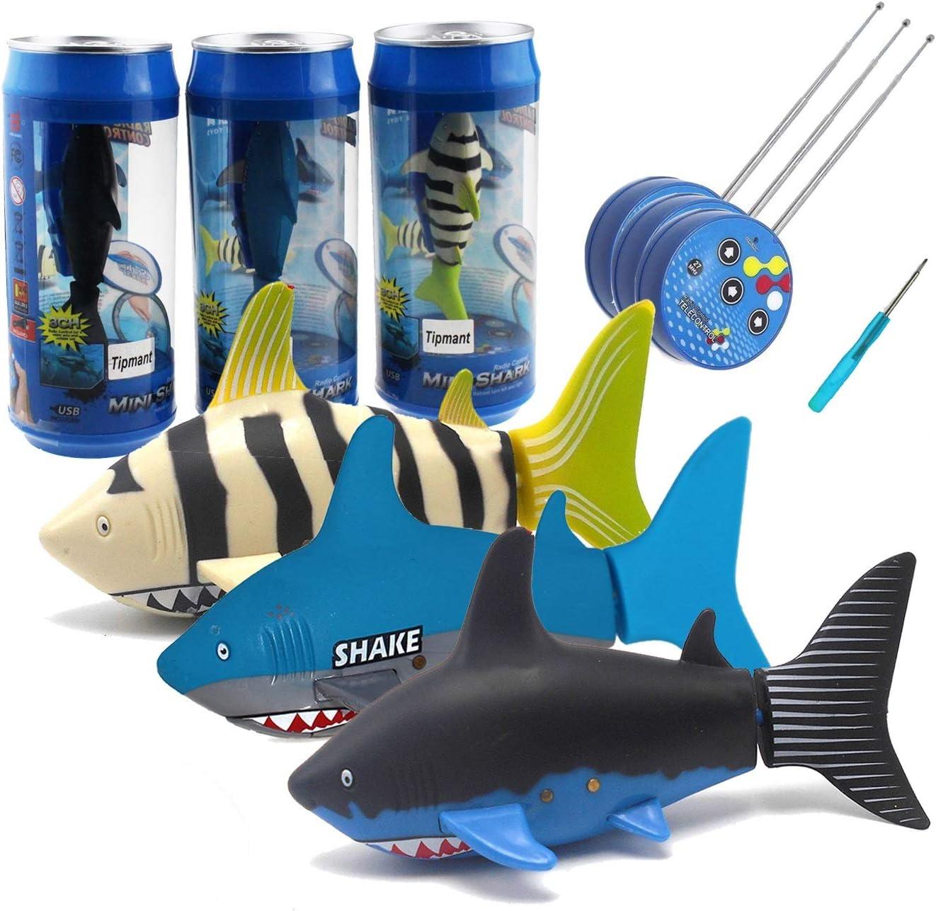 Tipmant Mini RC Fish Shark Radio Remote Control Boat Ships & Submarine for Fish Tank, Swimming Pool, Bathtub Kids Electric Animal Toy - 3 Pack