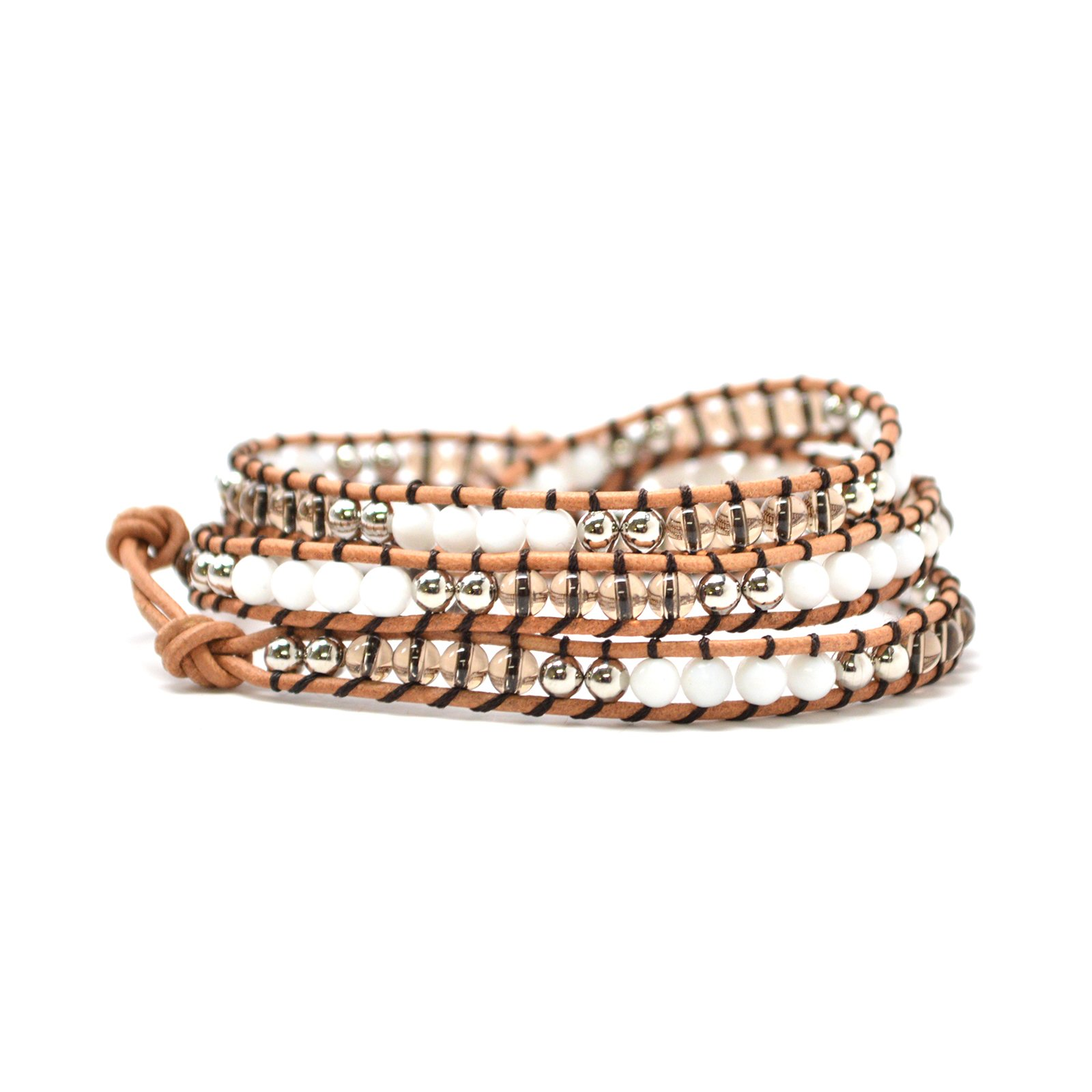 The Tiger Cub Boho Style Light Brown Wrap Black String White Clear Agate Semi-precious Beads Bracelet (23 Inches)