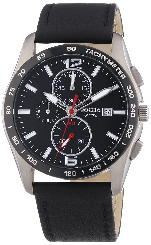 Boccia 3767-01 - Reloj analógico de Cuarzo para Hombre, Correa de Titanio Color Plateado