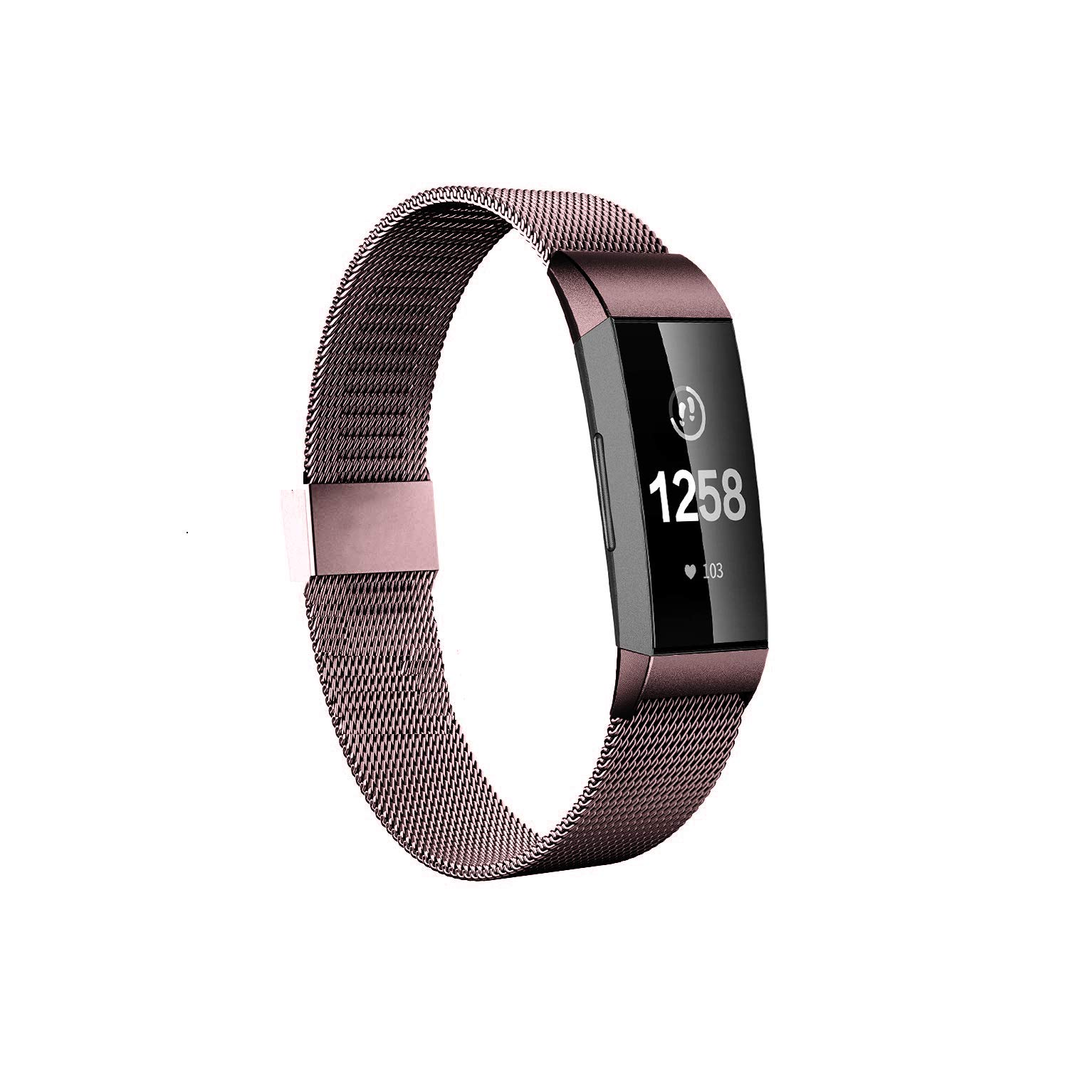 Fitlink Stainless Steel Bands Replacement for Charge 3 and Charge 3 SE for Women Men,Multi Color Multi Size(Coffee,Large)