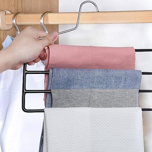 Antideslizantes a Prueba de Viento Perchas Organizadoras para Pantalones Perchero Plegable Ahorro de Espacio Doble Gancho F/ácil de Colocar