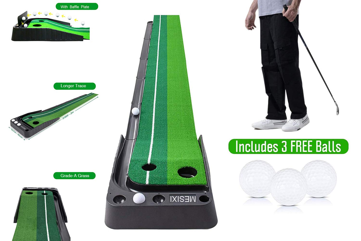 MESIXI Indoor/Outdoor Golf Putting Green Mat Portable Baffle Plate Auto Ball Return System Mini Golf Practice Training Aid Equipment Game and Golf Gifts for Men Home Office Outdoor Use by MESIXI