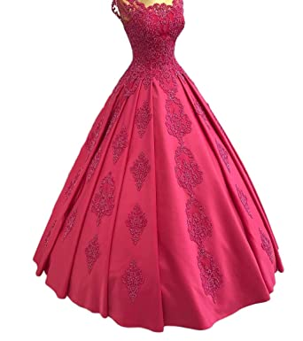 TulBridal Womens Beaded Appliques Satin Prom Dresses Backless Quincenara Ball Gowns at Amazon Womens Clothing store: