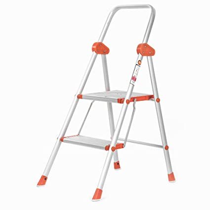 Bathla Sure Step Excalibur - Super-Wide 2-Step Foldable Aluminium Ladder 55 cm (1.8 ft.) for Home Use with 5-Year Warranty