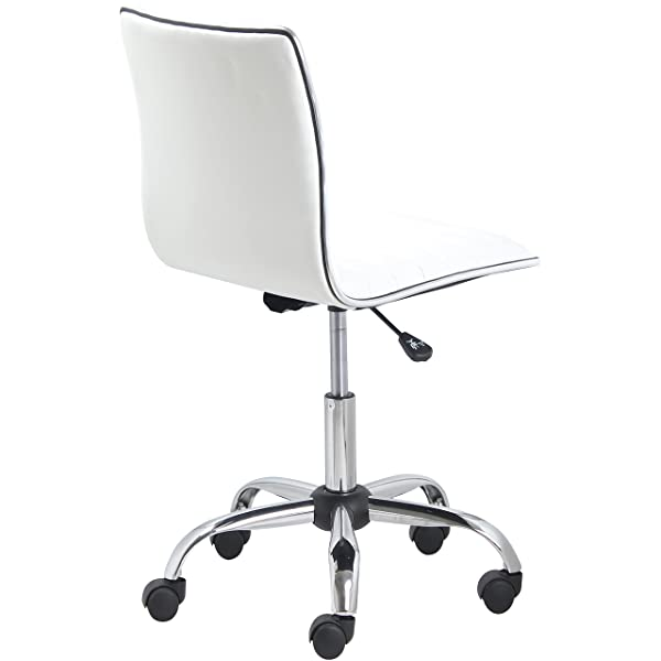 BTEXPERT 5029w BTExpert Swivel Mid Back Armless Ribbed Designer Task Chair Leather Soft Upholstery Office Chair - White