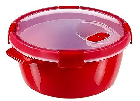 Curver - hermético Smart Micro Vaporera Redonda 1,6L. - Apto para Microondas - Con Rejilla para Cocinar al Vapor - Descongelar y Recalentar - Color ...