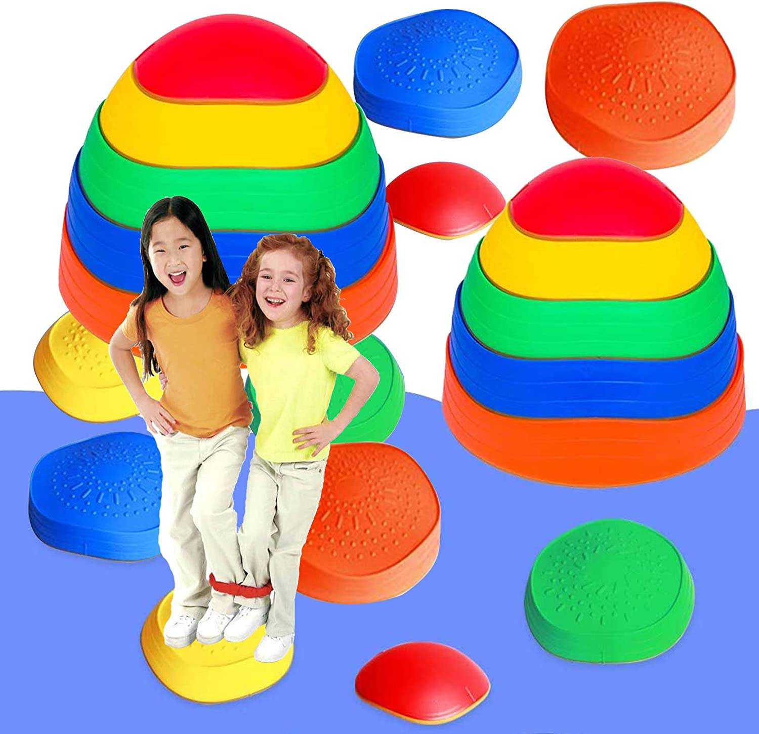EDRLAITY 10 Pcs Stepping Stones for Kids, Balance Stepping Stones Obstacle Course, Indoor & Outdoor Play Toy Helps Build Coordination & Strength, Non-Slip Textured Surface and Rubber Edging