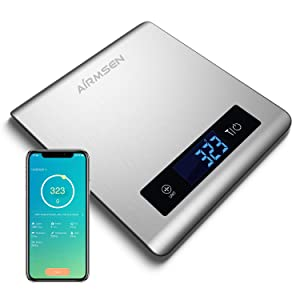 AIRMSEN Food Scale, Digital Kitchen Scale Weight Grams and Oz (1g/0.05oz Precision) for Baking, Cooking and Coffee with Nutritional Calculator for Macro, Calorie, with Smartphone App, Stainless Steel