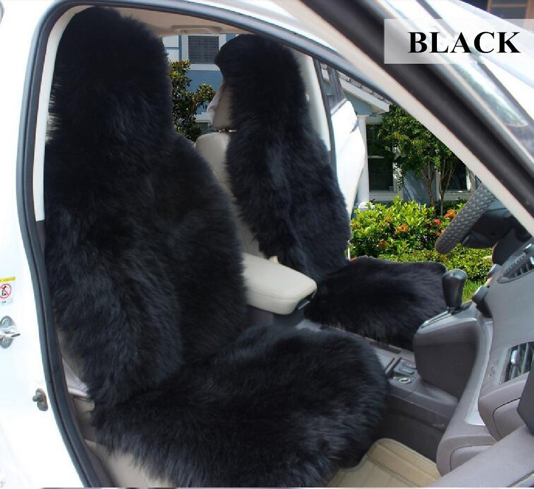Okayda Universal Fit Long Wool Sheepskin Car Seat Covers 1 Pcs Luxury Soft and Comfortable for Auto Cars Black