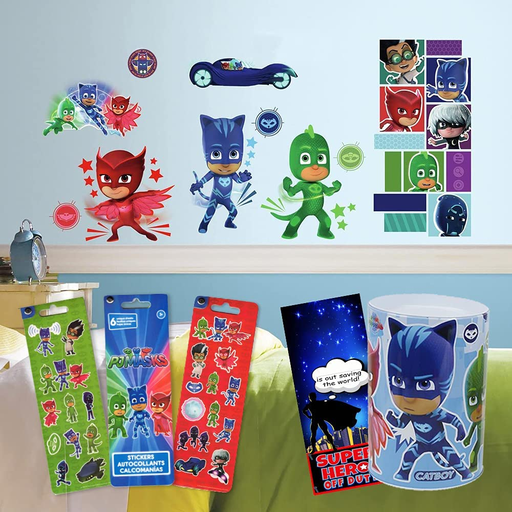 RoomMates PJ Masks Room Decor Bundle ~ 13 PJ Masks Wall Decals Featuring Catboy, Gekko, and Owlette with PJ Masks Savings Tin and Stickers (PJ Masks Decals)