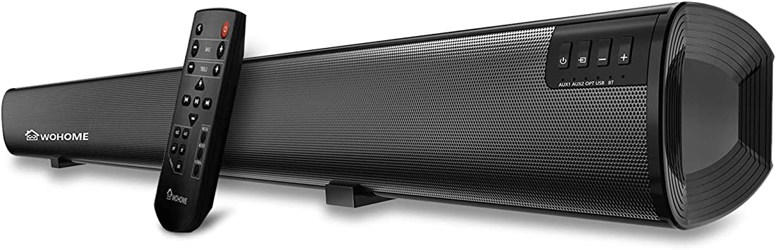 Sound Bar Wohome TV Soundbar Home Theater Surround Wireless Bluetooth Speaker System with Remote Control 34 Inch 6 Drivers 80W 100 dB 2019 Updated Version Model S19