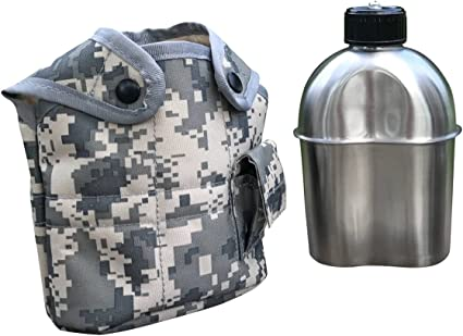 Portable Military Camping Survival Water Bottle Canteen Cup with ACU Pouch
