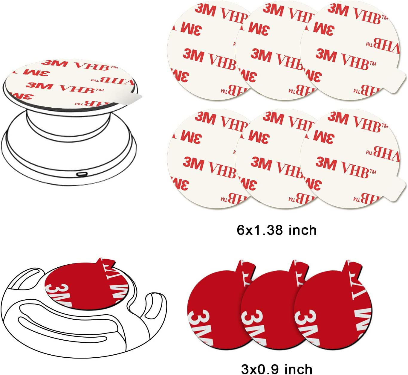 VOLPORT 2pcs VHB Sticker Pad for Mount 6pcs 3M Sticky Adhesive Replacement Parts Circle Double Sided Tape for Collapsible Grip Stands Back /& Phone Car Magnetic Holder Base