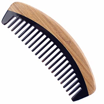 e079681691f Amazon.com   Breezelike Hair Comb - Wide Tooth Wooden Detangling Comb for  Curly Hair - No Static Sandalwood Buffalo Horn Comb for Men and Women    Beauty